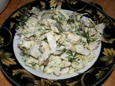 Салат из курицы капусты шампиньоны