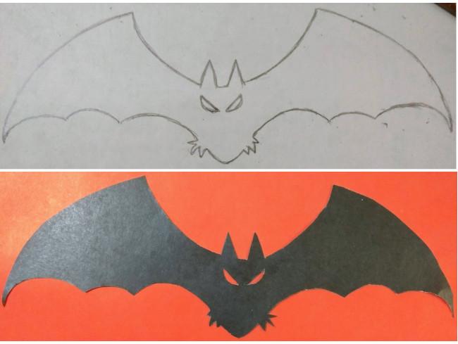 Летучая мышь из цветной бумаги